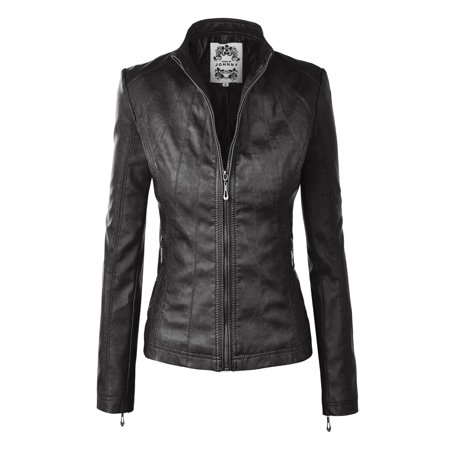 MBJ WJC877 Womens Panelled Faux Leather Moto Jacket S -