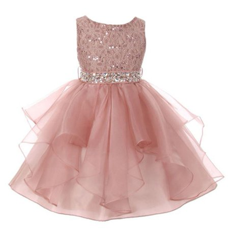 Little Girls Blush Pink Lace Crystal Tulle Ruffle Flower Girl Dress (Little Girl Ruffle Dresses)