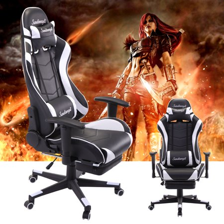 Jaxpety White Racing Chair Ergonomic High Back Office Desk Chair Swivel PC Gaming Chair w/Lumbar Support