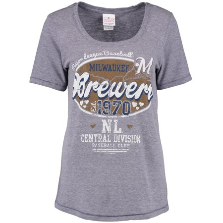 Milwaukee Brewers 5th & Ocean by New Era Women's Missy Baby Jersey Scoop Neck T-Shirt - Heathered Gray