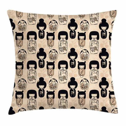 Kids Girls Throw Pillow Cushion Cover, Japanese Kokeshi Dolls with Sakura Flower Patterned Dresses Cultural Print, Decorative Square Accent Pillow Case, 16 X 16 Inches, Black Beige Tan, by Ambesonne