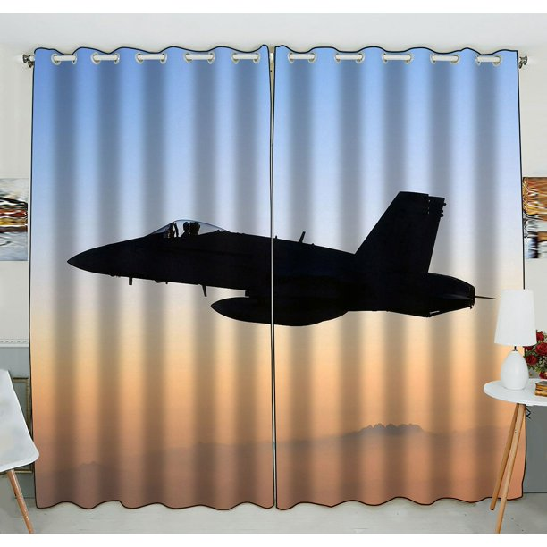 Zkgk Airplane Window Curtain Drapery Panels Treatment For Living Room Bedroom Kids Rooms 52x84 Inches Two Panel Walmart Com Walmart Com