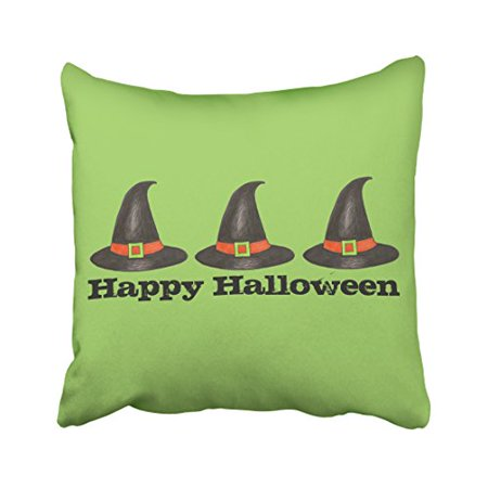 WinHome Cute Vintage Happy Halloween Witches Hat Watercolor Pattern Polyester 18 x 18 Inch Square Throw Pillow Covers With Hidden Zipper Home Sofa Cushion Decorative Pillowcases](Cute Halloween Witch Clip Art)