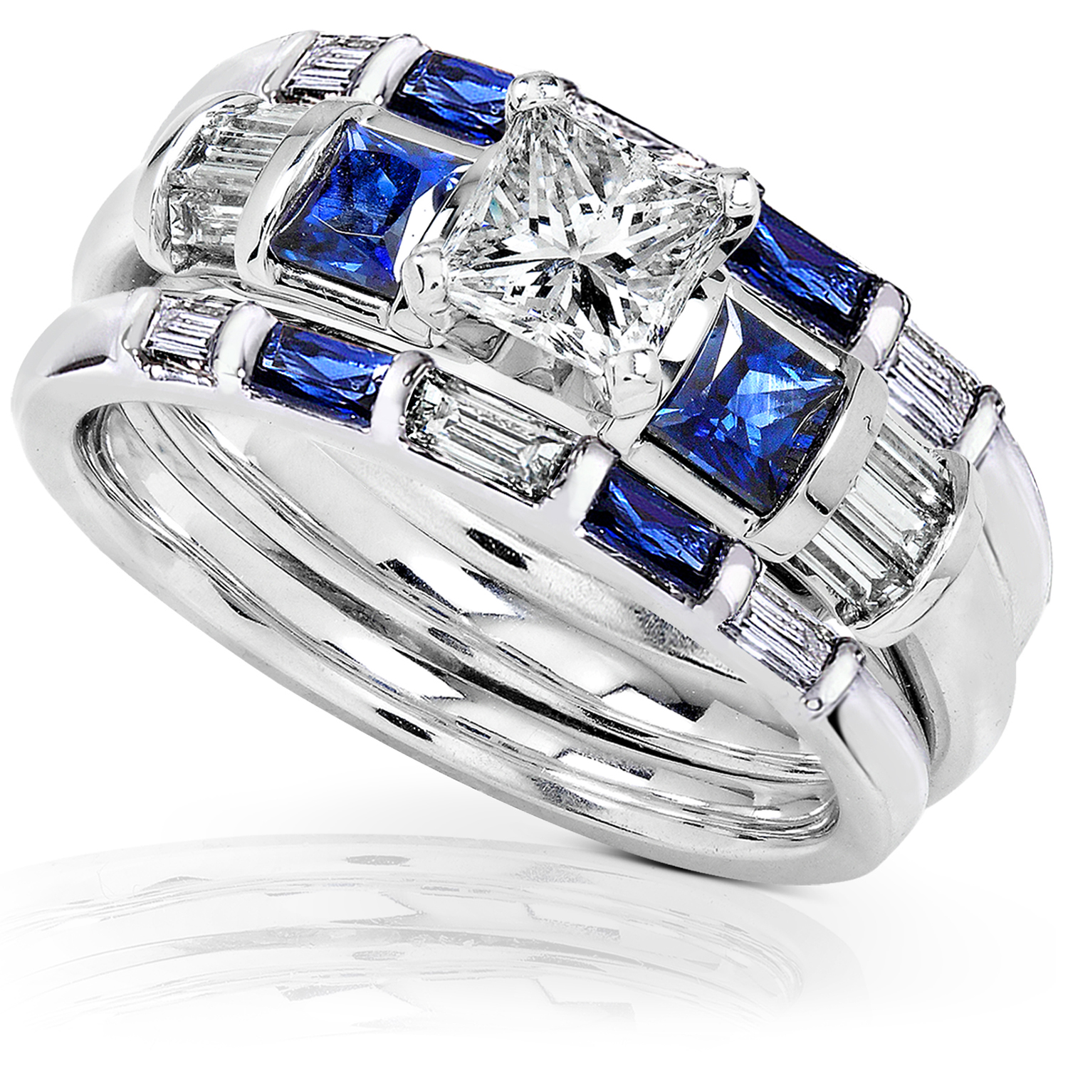 Blue Shire Diamond Wedding Rings Set 1 2 Carat Ctw In 14k