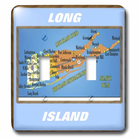 3dRose Framed Map Of Long Island - Double Toggle Switch (lsp_39011_2) ()