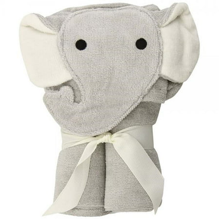 Elegant Baby Bath Time Gift Hooded Towel Wrap, Gray Elephant