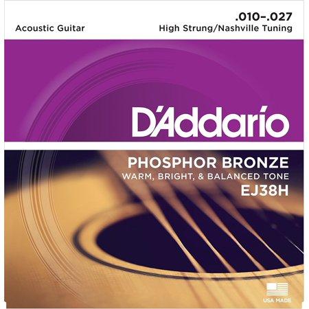 D'Addario EJ38H Phosphor Bronze Acoustic Guitar Strings, High Strung/Nashville Tuning, 10-27, Designed and gauged for High Strung or Nashville.., By DAddario From USA