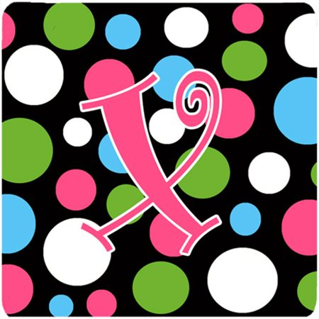 Monogram - Polkadots And Pink Foam Coasters - Set 4, Initial Letter X