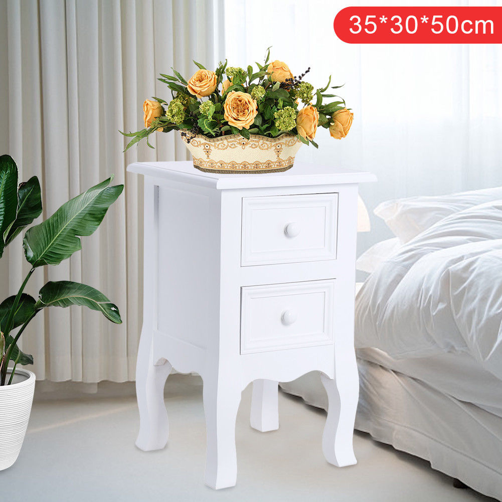 2 Drawer Bedside Table White Bedside Storage Unit Cabinet Shabby Chic Small