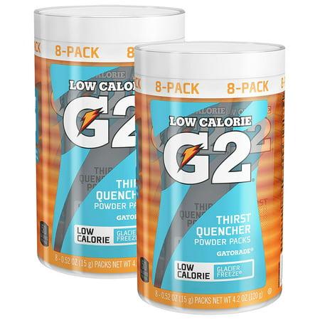 (8 Pack) G2 Lower Sugar Gatorade Powder Canister, Glacier Freeze, 64 Packets ()
