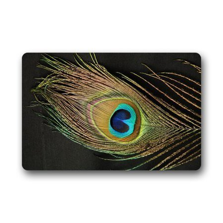 RYLABLUE Peacock Feather Doormat Floor Mats Rugs Outdoors/Indoor Doormat Size 23.6x15.7 inches - image 1 of 1