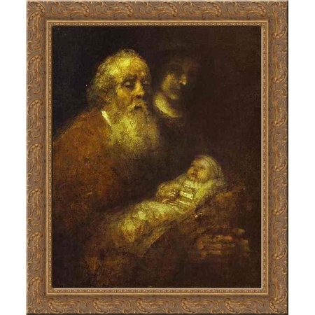 Simeon with the Christ Child in the Temple 20x24 Gold Ornate Wood Framed Canvas Art by Rembrandt