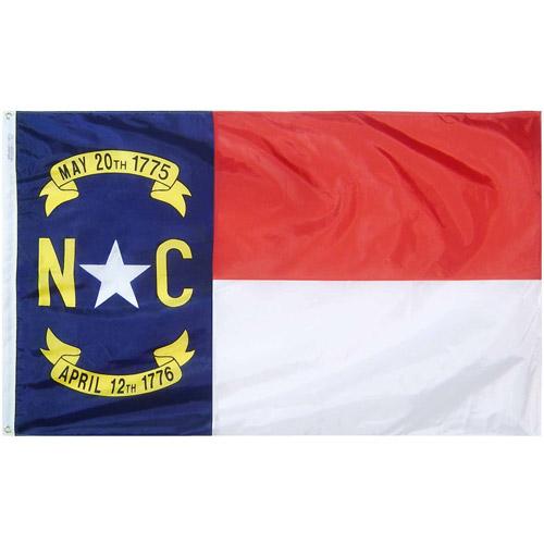 North Carolina State Flag, 3' x 5', Nylon SolarGuard Nyl-Glo, Model# 143960
