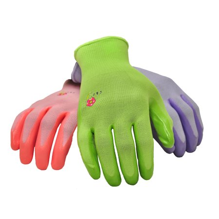 - Women's Garden Gloves, 6 Pair Pack, assorted colors. Women's Medium