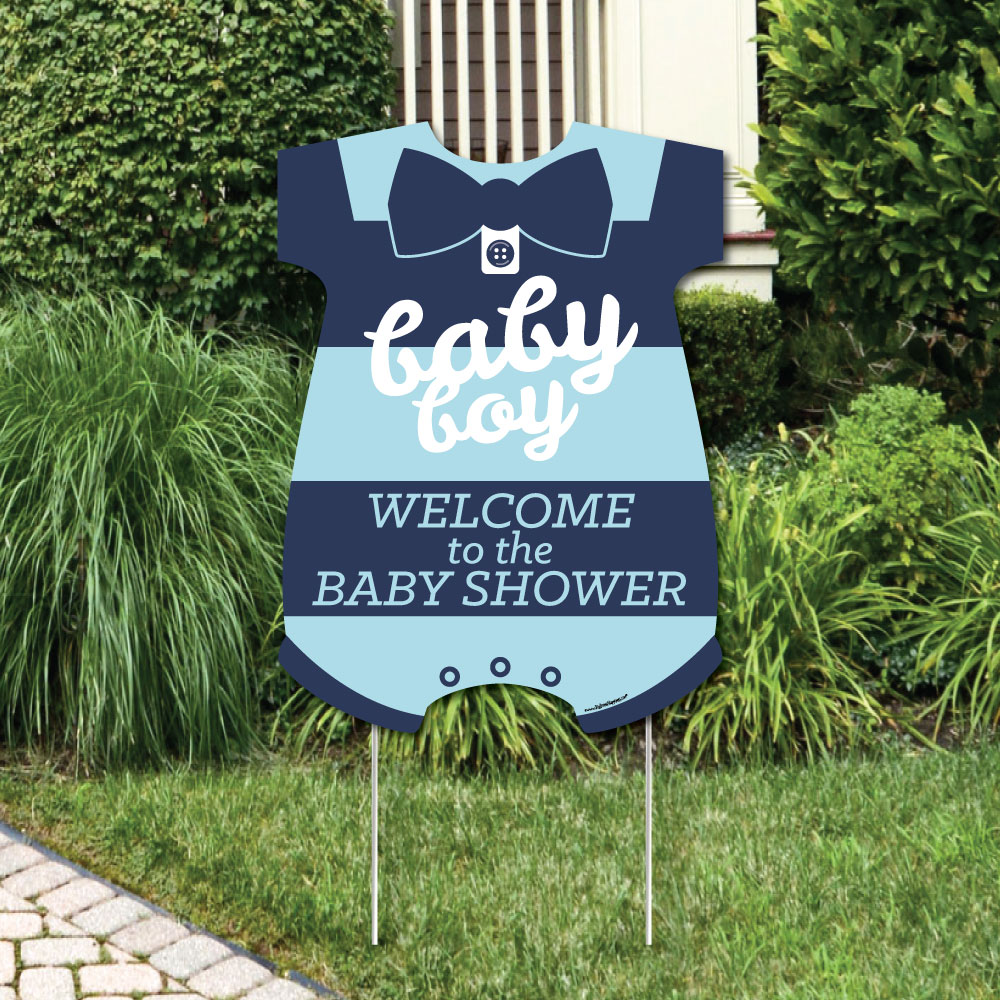 Hello Little One - Blue and Navy - Party Decorations - It's A Boy Baby Shower Welcome Yard Sign