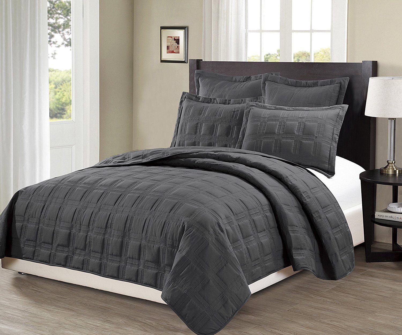 Fancy Linen 3pc Oversize Diamond Embossed Bedspread Solid Gray New