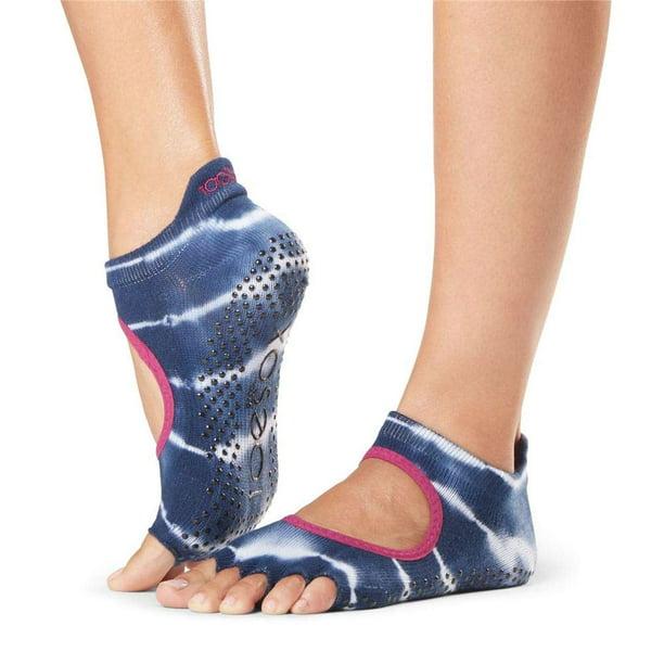 2 Pairs ToeSox Womens Half Toe Grip Socks Yoga Organic Cotton Small Gray New