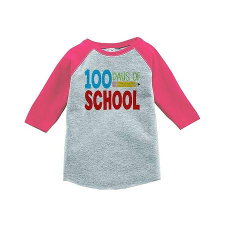 Custom Party Shop Girls 100 Days of School Pink Baseball Tee - Large / 14-16](School Girl Top)
