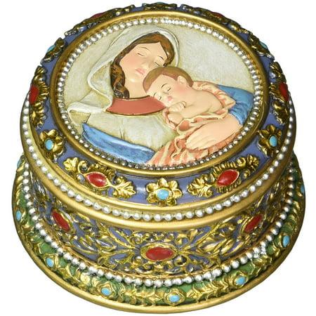 Madonna Box (Madonna and Child Rosary Box (MT389) 3.5