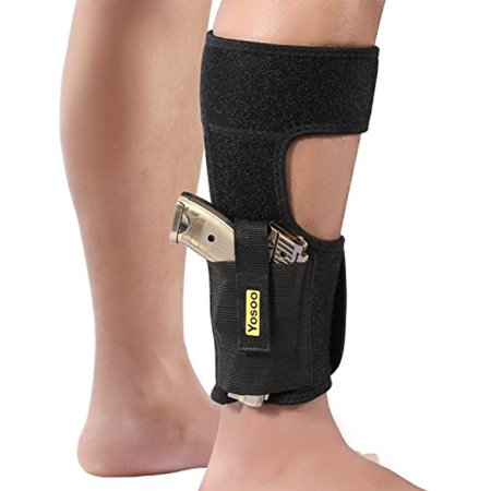 Yosoo Ankle Holster Adjustable Neoprene Elastic Wrap Concealed Ankle Carry Gun Holster with Magazine (Best Holster With Double Magazines)
