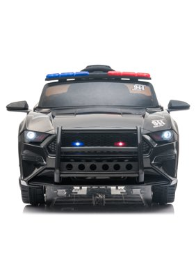 Kids Ride On Toys Police Car, URHOMERPO 12 Volt Ride on Cars with Remote Control, Power 4 Wheels Police Truck with 3 Speeds, LED Lights, Horn, Battery Powered Electric Vehicles for Boys, Black, W14188