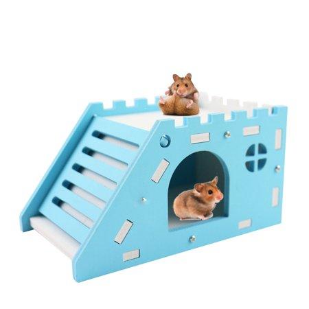Pet Hamster Watchtower Wood Castle Slide House Bed Cage Nest Pet Toy for Hedgehog Guinea Pig