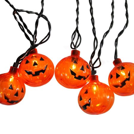 Set of 10 Transparent Orange Pumpkin Halloween Lights - Black Wire - Halloween Lights To Music 2017