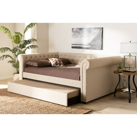 Full Size Daybed - Baxton Studio Mabelle Modern and Contemporary Beige Fabric Upholstered Full Size Daybed with Trundle