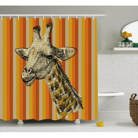 Giraffe shower curtain set sketch style portrait of a for Animal themed bathroom decor