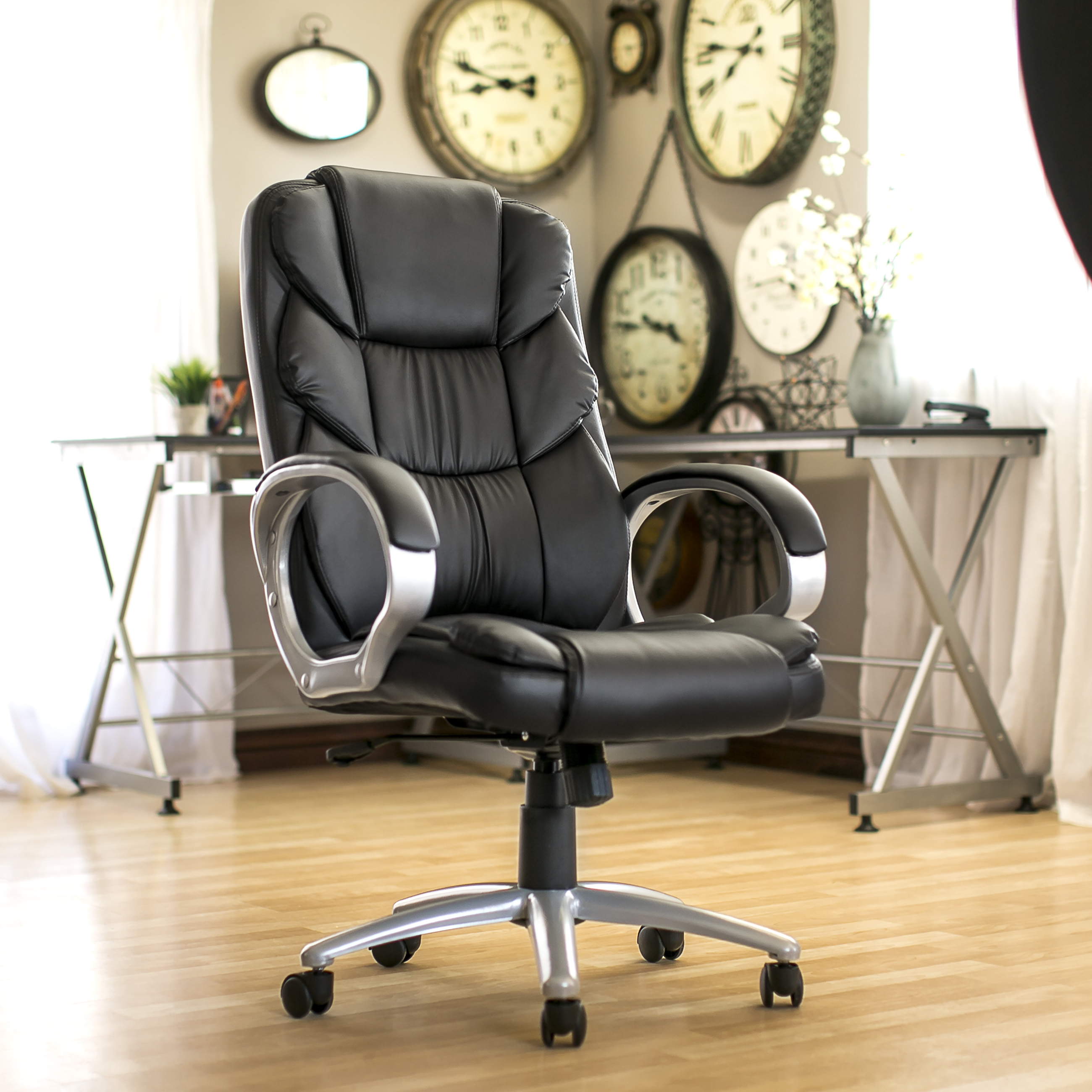 Ergonomic PU Leather High Back Office Chair, Black