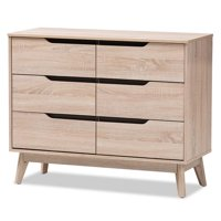 Hawthorne Collection 6 Drawer Wood Double Dresser in Light Brown