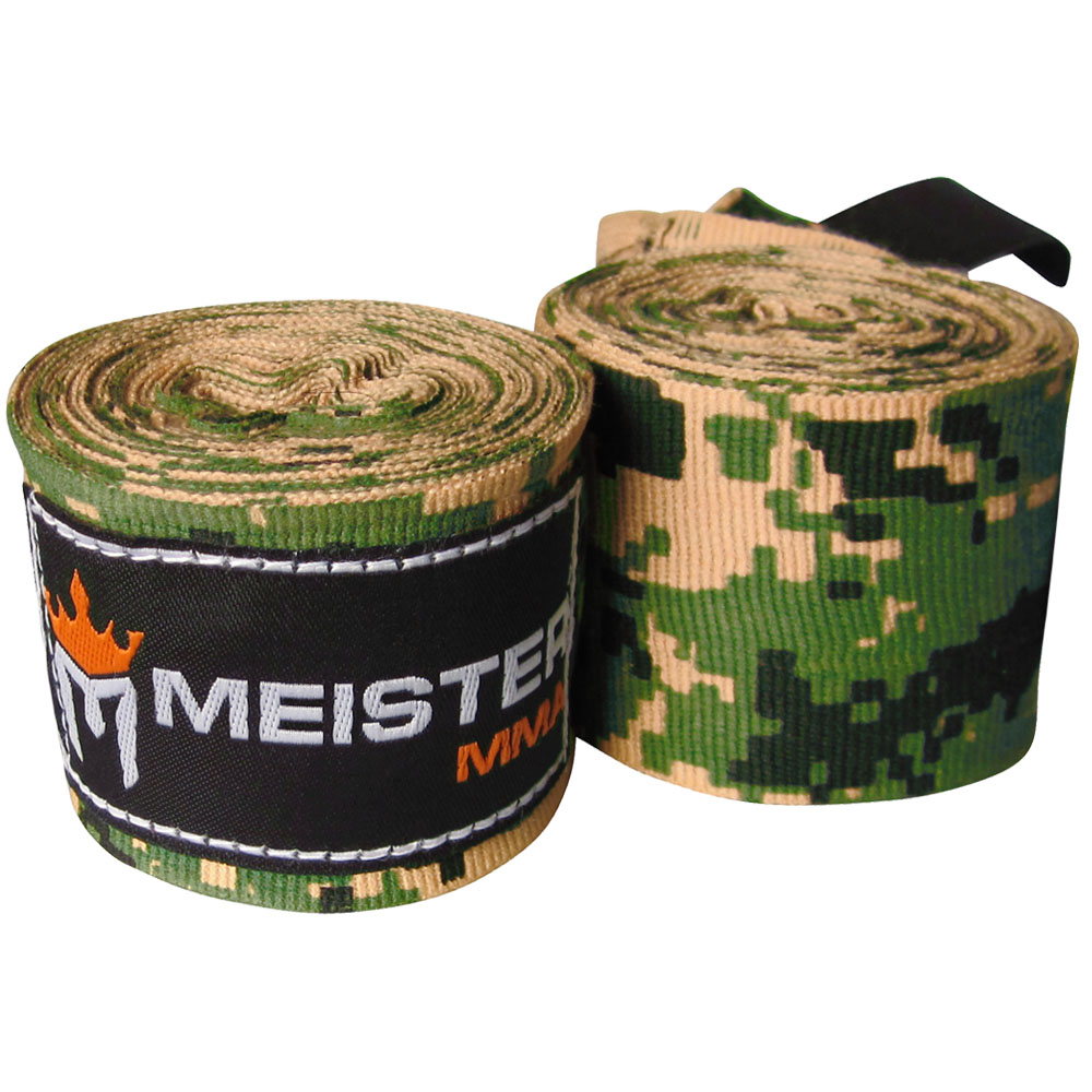 "Meister 180"" Semi-Elastic MMA Hand Wraps (Pair) - Camo Army"