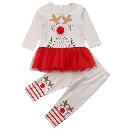 Baby Girls 2pcs Christmas Outfits Long Sleeve Reindeer Tutu Dress With Stripes Pant 4-5 - Reindeer Outfit