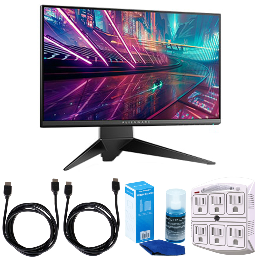 "Dell Alienware 24.5"" 1920x1080 16:9 240Hz Gaming Monitor (AW2518H) w/ Accessories Bundle Includes, 2x 6ft. HDMI Cable, SurgePro 6-Outlet Surge Adapter with Night Light & Screen Cleaner For LED TVs"