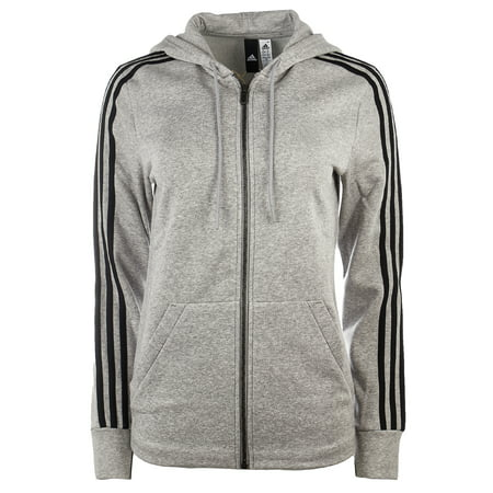 Adidas Essentials Cotton Fleece 3-Stripe Full Zip Hoodie - Medium Grey  Heather/Black - Womens - XL