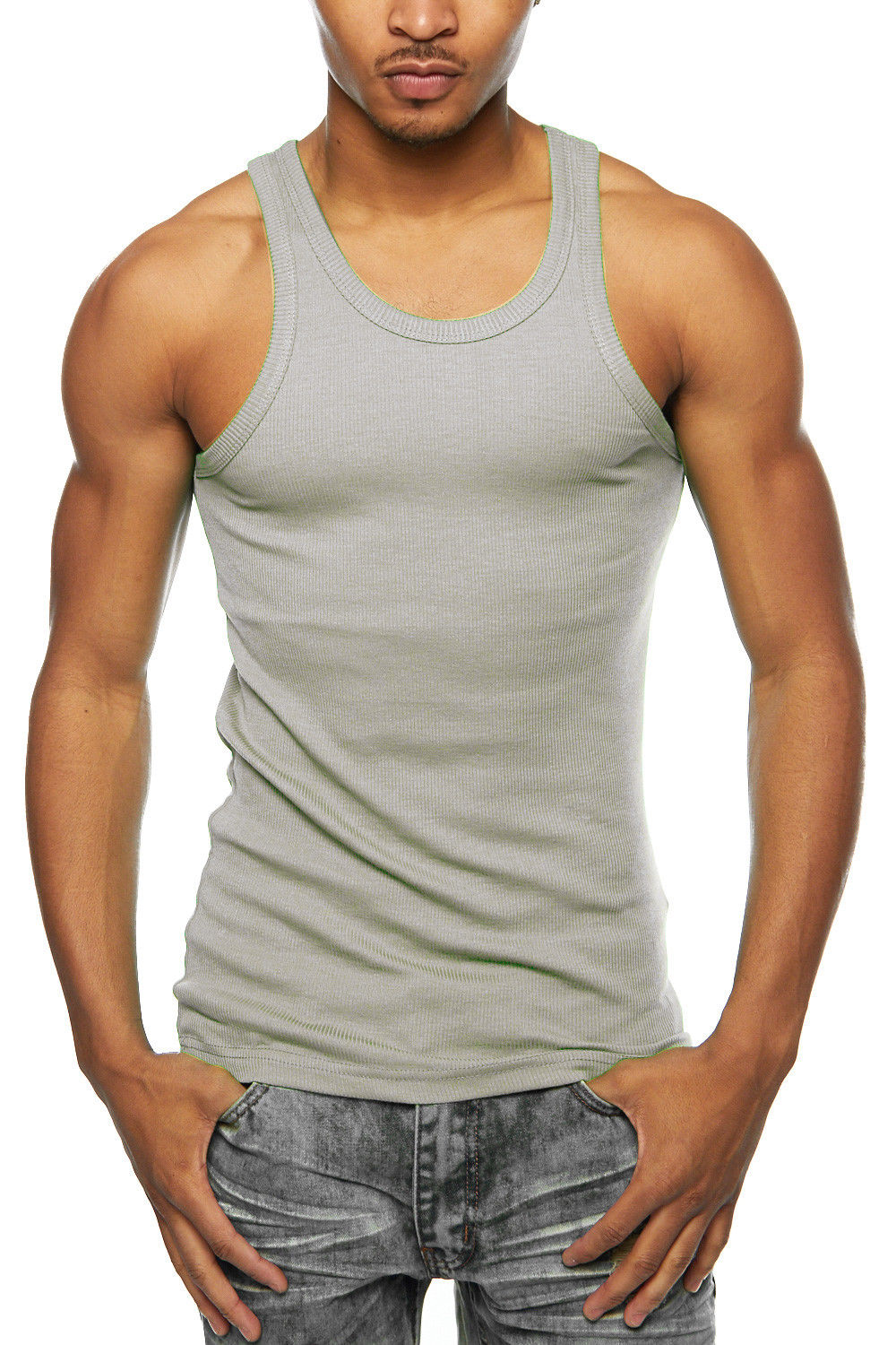 Mens 3 Pcs 100% Cotton A-Shirt Muscle TankWife Beater Ribbed Undershirt 388T-S-Black