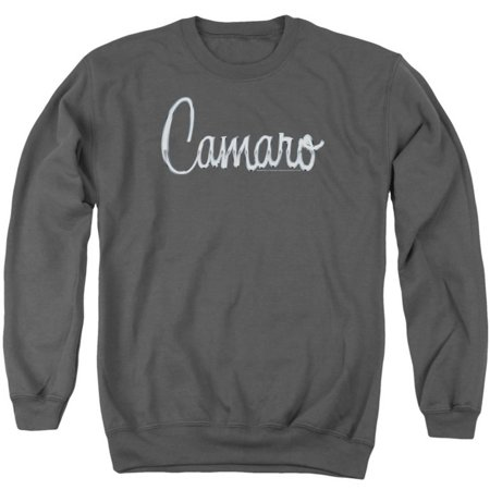 Crewneck Sweatshirt: Chevrolet- Camaro Chrome Script Crewneck Sweatshirt - Grey