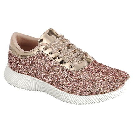 9e61ca3963 Women's Flat Lace Up Glitter Fashion Sparkly Sneaker (FREE SHIPPING)