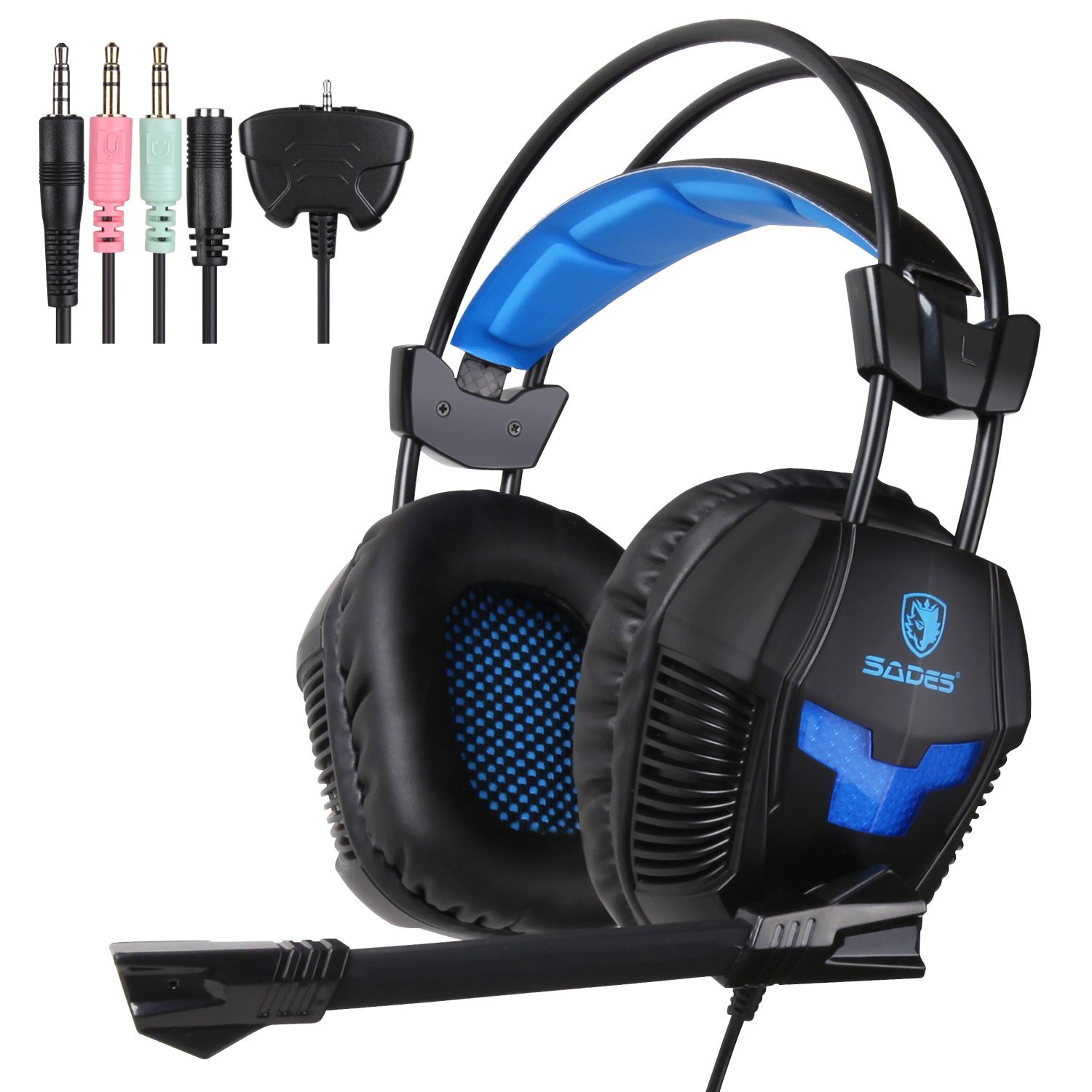 Sades SA-921 Professional Wired PC Gaming Headset Over Ear Headphones with Microphone for PC Laptop PS4 Xbox Cellphone