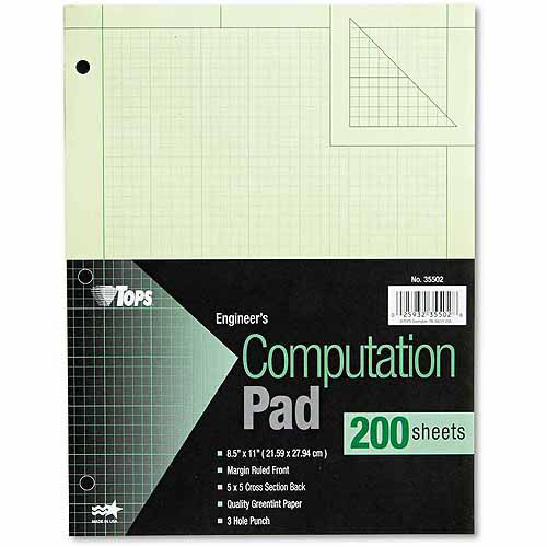 TOPS Engineering Computation Pad, Quadrille Rule, Letter, Green, 200 Sheets/Pad