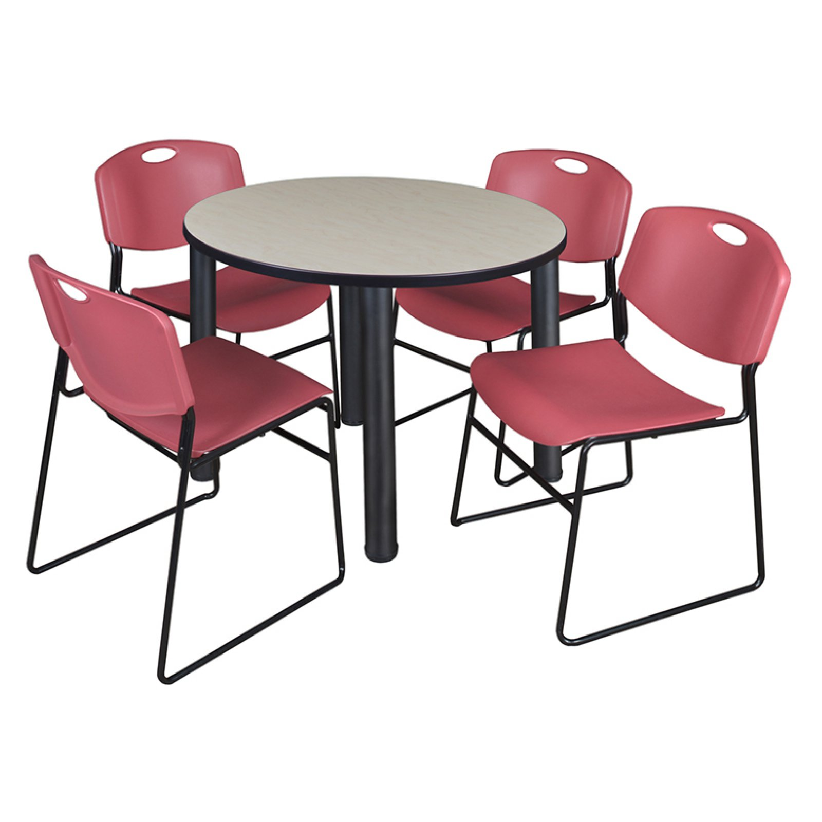 """Kee 36"""" Round Breakroom Table- Maple/ Chrome & 4 Zeng Stack Chairs- Blue"""
