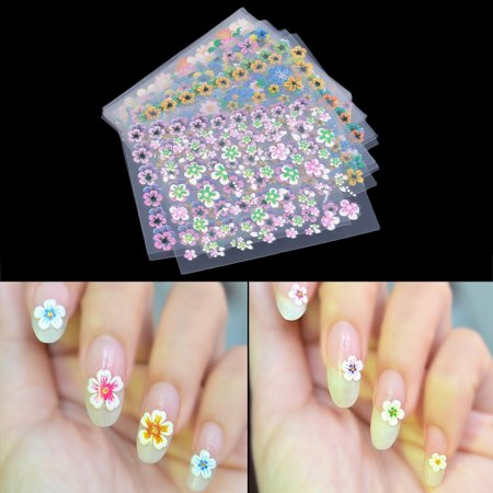 30 Sheet Flower Sticker Decal Nail Art Decoration Fashion Colorful