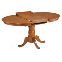 East West Furniture Portland 42-60 Inch Oval Pedestal Dining Table with Extension Butterfly Leaf