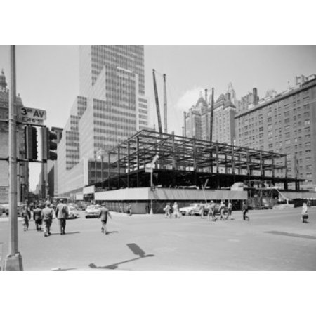 47th Street Photo - USA New York State New York City New building being constructed at 3rd Avenue between 46th and 47th streets Poster Print