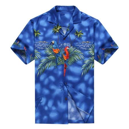 0081523f67d Hawaii Hangover - Made in Hawaii Men s Hawaiian Shirt Aloha Shirt Blue with  Matching Front Parrots - Walmart.com