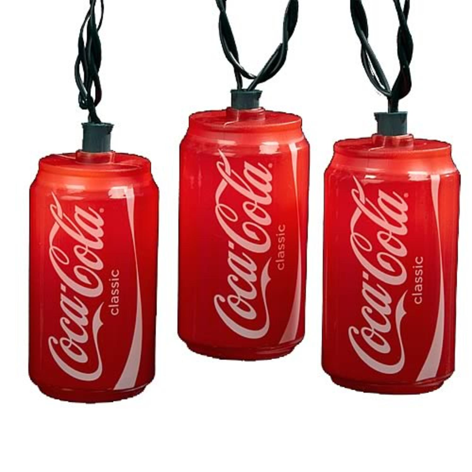 Set of 10 Blow Mold Classic Coca-Cola Can Party Christmas Lights - Green Wire