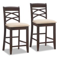 Leick Home Wood Double Crossback Counter Height Stool with Beige Microfiber Seat, Set of 2