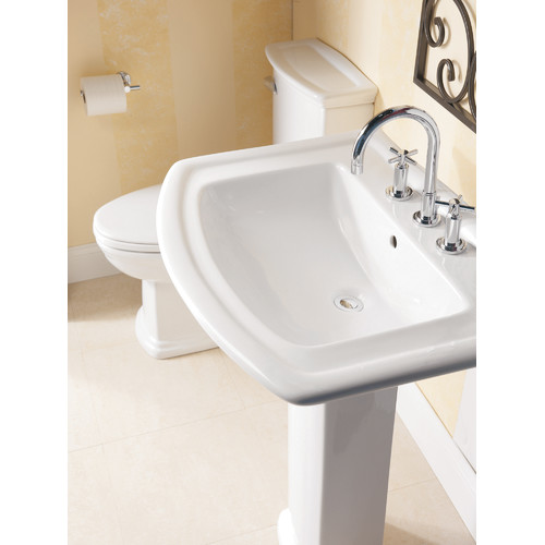 Barclay Washington 550 Vitreous China Pedestal Bathroom Sink with Overflow