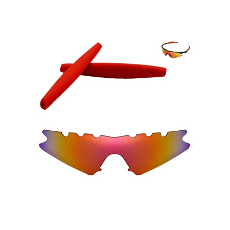Walleva Fire Red Polarized Vented Replacement Lenses And Red Earsocks For Oakley M Frame Sweep (Vented Sunglasses)