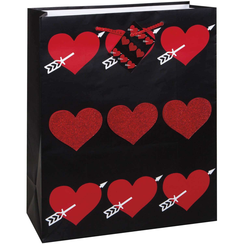 large glitter heart valentines day gift bag walmartcom - Walmart Valentine Gifts